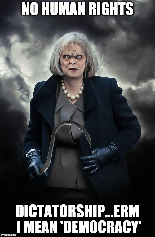 NO HUMAN RIGHTS DICTATORSHIP...ERM I MEAN 'DEMOCRACY' | image tagged in theresa may | made w/ Imgflip meme maker