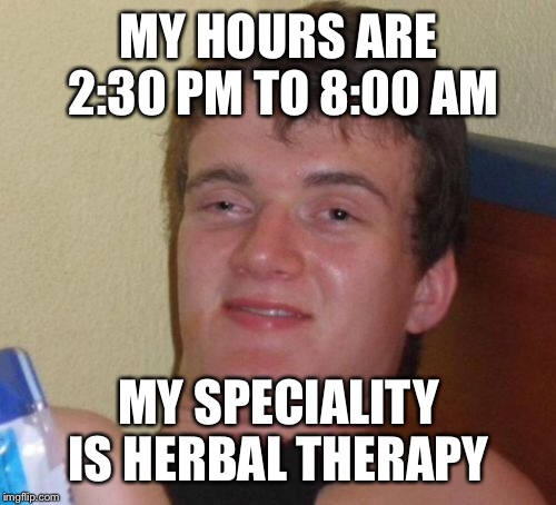 10 Guy Meme | MY HOURS ARE 2:30 PM TO 8:00 AM MY SPECIALITY IS HERBAL THERAPY | image tagged in memes,10 guy | made w/ Imgflip meme maker