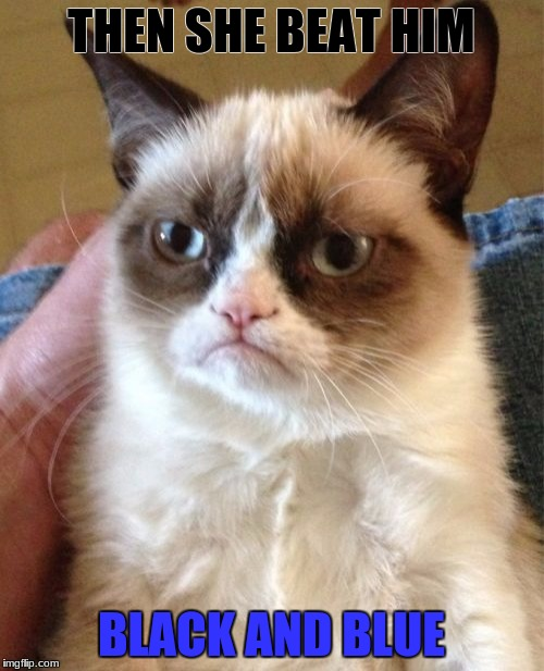 Grumpy Cat Meme | THEN SHE BEAT HIM BLACK AND BLUE | image tagged in memes,grumpy cat | made w/ Imgflip meme maker