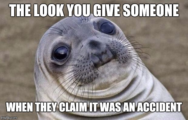 Awkward Moment Sealion Meme | THE LOOK YOU GIVE SOMEONE WHEN THEY CLAIM IT WAS AN ACCIDENT | image tagged in memes,awkward moment sealion | made w/ Imgflip meme maker