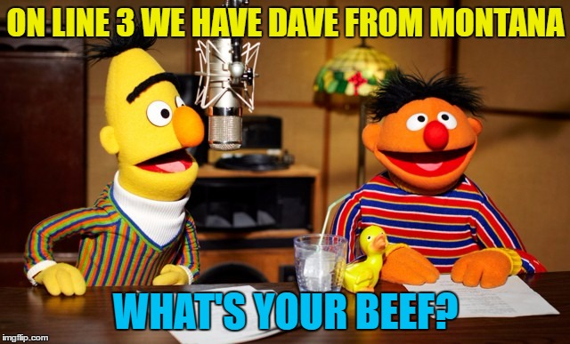 Long time listener - first time caller... |  ON LINE 3 WE HAVE DAVE FROM MONTANA; WHAT'S YOUR BEEF? | image tagged in bert and ernie radio,memes,talk radio,sesame street,tv,muppets | made w/ Imgflip meme maker