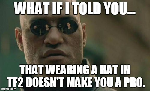 tf2 in a shellnut | WHAT IF I TOLD YOU... THAT WEARING A HAT IN TF2 DOESN'T MAKE YOU A PRO. | image tagged in memes,matrix morpheus | made w/ Imgflip meme maker