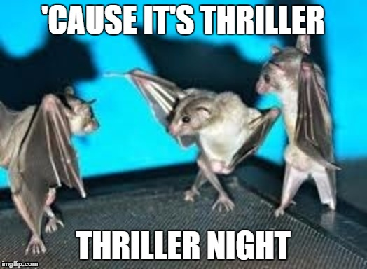 'CAUSE IT'S THRILLER THRILLER NIGHT | image tagged in bats,dancing,thriller night | made w/ Imgflip meme maker