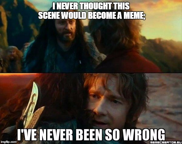 I never thought | I NEVER THOUGHT THIS SCENE WOULD BECOME A MEME; | image tagged in i have never been so wrong,hobbit,bilbo,thorin | made w/ Imgflip meme maker
