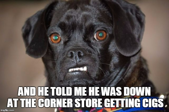 AND HE TOLD ME HE WAS DOWN AT THE CORNER STORE GETTING CIGS | made w/ Imgflip meme maker