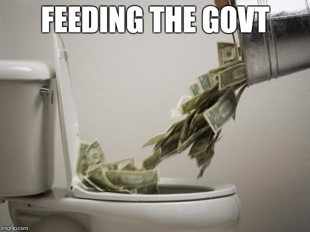 Competition Activates Conscience | FEEDING THE GOVT | image tagged in money down toilet,memes | made w/ Imgflip meme maker