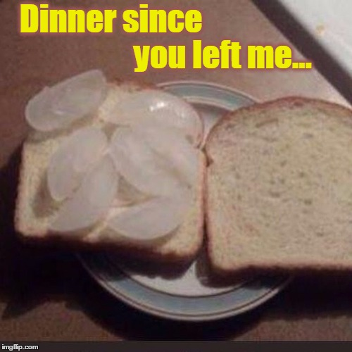 Without You... I'm Hungry |  Dinner since                                    you left me... | image tagged in vince vance,ice cube sandwich,the cupboard is bare,broke,missing you,memes | made w/ Imgflip meme maker