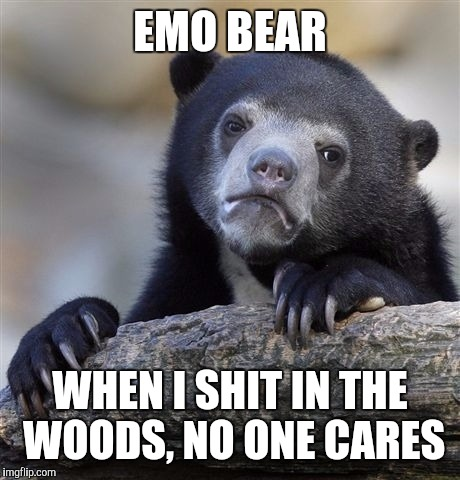 Confession Bear Meme | EMO BEAR WHEN I SHIT IN THE WOODS, NO ONE CARES | image tagged in memes,confession bear,funny,lol so funny,fuck this shit,i know fuck me right | made w/ Imgflip meme maker