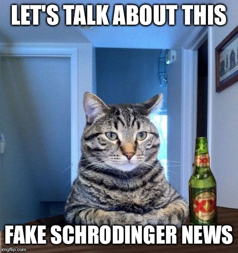 Most Interesting Cat In The World | LET'S TALK ABOUT THIS FAKE SCHRODINGER NEWS | image tagged in most interesting cat in the world | made w/ Imgflip meme maker