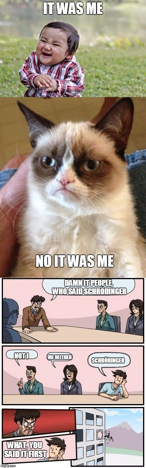 IT WAS ME NO IT WAS ME DAMN IT PEOPLE, WHO SAID SCHRÖDINGER NOT I ME NEITHER SCHRÖDINGER WHAT, YOU SAID IT FIRST | made w/ Imgflip meme maker