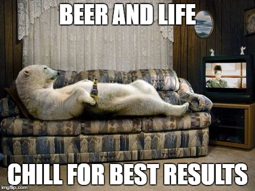 BEER AND LIFE CHILL FOR BEST RESULTS | image tagged in the relaxa,polar bear,beer,life | made w/ Imgflip meme maker