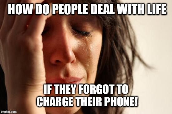 First World Problems Meme | HOW DO PEOPLE DEAL WITH LIFE IF THEY FORGOT TO CHARGE THEIR PHONE! | image tagged in memes,first world problems | made w/ Imgflip meme maker