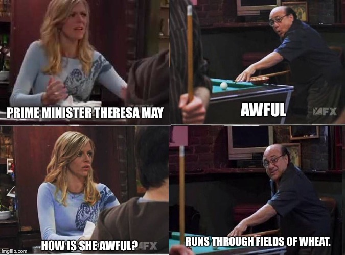 1qirkm image tagged in theresa may,it's always sunny in philidelphia,frank