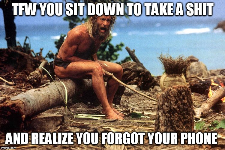 Cast away | TFW YOU SIT DOWN TO TAKE A SHIT AND REALIZE YOU FORGOT YOUR PHONE | image tagged in cast away | made w/ Imgflip meme maker