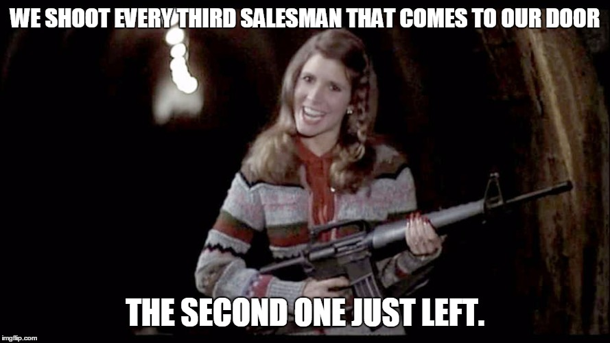 Good afternoon madam, I'm from the Hi-Ho Silver Cleaning Company of Walla Walla, Washington... | WE SHOOT EVERY THIRD SALESMAN THAT COMES TO OUR DOOR THE SECOND ONE JUST LEFT. | image tagged in carrie fisher,salesmen,big gun | made w/ Imgflip meme maker