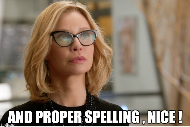 Callista Flockhart | AND PROPER SPELLING , NICE ! | image tagged in callista flockhart | made w/ Imgflip meme maker