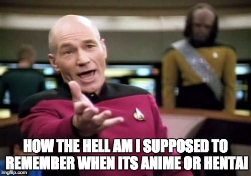 I always mix these terms | HOW THE HELL AM I SUPPOSED TO REMEMBER WHEN ITS ANIME OR HENTAI | image tagged in memes,picard wtf,hentai,anime | made w/ Imgflip meme maker