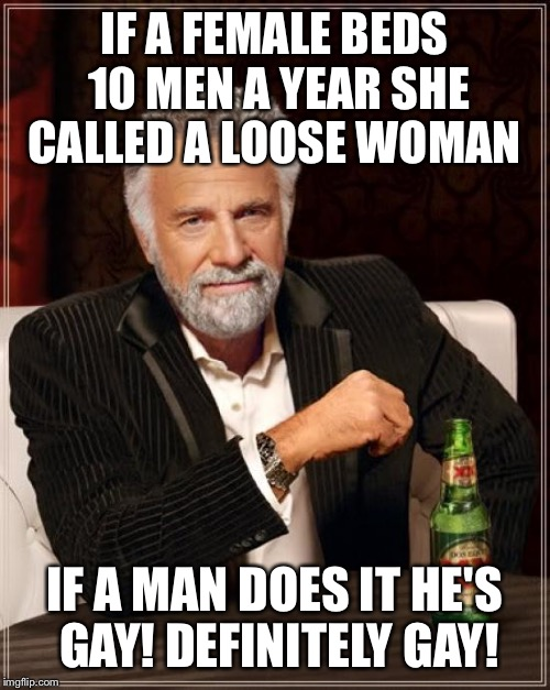 There are differences my friend  | IF A FEMALE BEDS 10 MEN A YEAR SHE CALLED A LOOSE WOMAN IF A MAN DOES IT HE'S GAY! DEFINITELY GAY! | image tagged in memes,the most interesting man in the world,funny | made w/ Imgflip meme maker