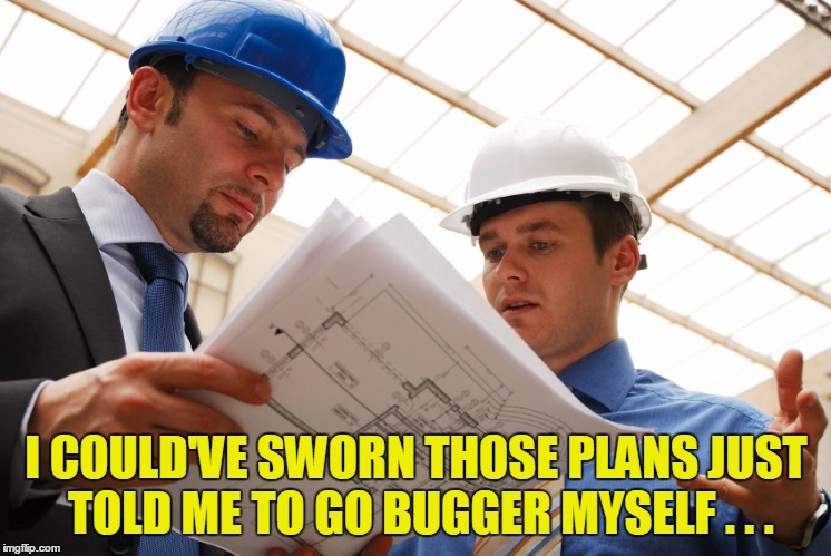 I COULD'VE SWORN THOSE PLANS JUST TOLD ME TO GO BUGGER MYSELF . . . | made w/ Imgflip meme maker