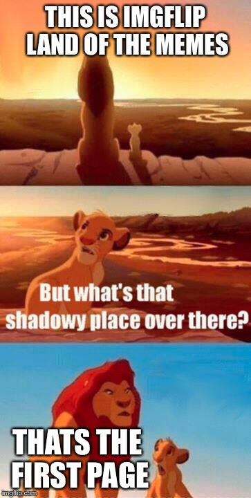 Simba Shadowy Place Meme | THIS IS IMGFLIP LAND OF THE MEMES THATS THE FIRST PAGE | image tagged in memes,simba shadowy place | made w/ Imgflip meme maker
