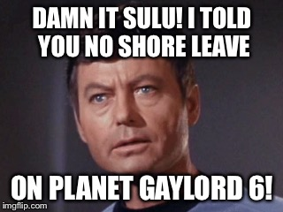 DAMN IT SULU! I TOLD YOU NO SHORE LEAVE ON PLANET GAYLORD 6! | made w/ Imgflip meme maker