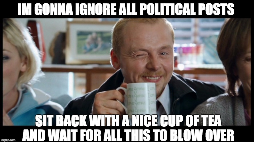 uk politics  | IM GONNA IGNORE ALL POLITICAL POSTS SIT BACK WITH A NICE CUP OF TEA AND WAIT FOR ALL THIS TO BLOW OVER | image tagged in british,politics | made w/ Imgflip meme maker