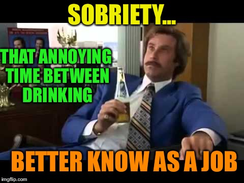Well That Escalated Quickly Meme | SOBRIETY... THAT ANNOYING TIME BETWEEN DRINKING BETTER KNOW AS A JOB | image tagged in memes,well that escalated quickly | made w/ Imgflip meme maker