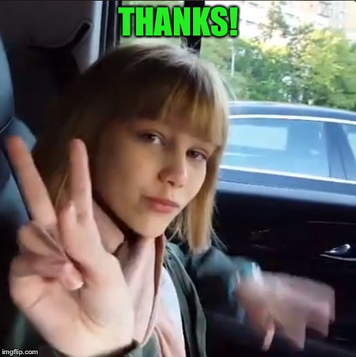 Grace Vanderwaal | THANKS! | image tagged in grace vanderwaal | made w/ Imgflip meme maker