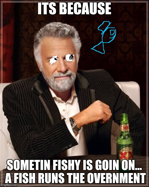 The Most Interesting Man In The World Meme | ITS BECAUSE SOMETIN FISHY IS GOIN ON... A FISH RUNS THE OVERNMENT | image tagged in memes,the most interesting man in the world | made w/ Imgflip meme maker
