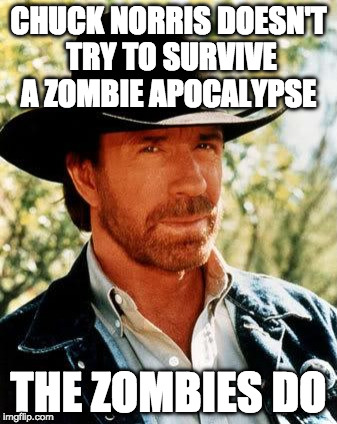 Chuck Norris Fact of the Day: | CHUCK NORRIS DOESN'T TRY TO SURVIVE A ZOMBIE APOCALYPSE THE ZOMBIES DO | image tagged in chuck norris,radiation zombie week,zombies,apocalypse,iwanttobebacon,fact of the day | made w/ Imgflip meme maker