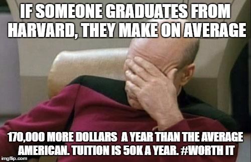 Captain Picard Facepalm Meme | IF SOMEONE GRADUATES FROM HARVARD, THEY MAKE ON AVERAGE 170,000 MORE DOLLARS  A YEAR THAN THE AVERAGE AMERICAN. TUITION IS 50K A YEAR. #WORT | image tagged in memes,captain picard facepalm | made w/ Imgflip meme maker