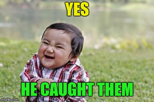 Evil Toddler Meme | YES HE CAUGHT THEM | image tagged in memes,evil toddler | made w/ Imgflip meme maker