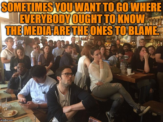 Cheers Millennials | SOMETIMES YOU WANT TO GO WHERE EVERYBODY OUGHT TO KNOW THE MEDIA ARE THE ONES TO BLAME. | image tagged in comey's testimony | made w/ Imgflip meme maker