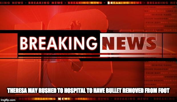 breaking news |  THERESA MAY RUSHED TO HOSPITAL TO HAVE BULLET REMOVED FROM FOOT | image tagged in breaking news | made w/ Imgflip meme maker