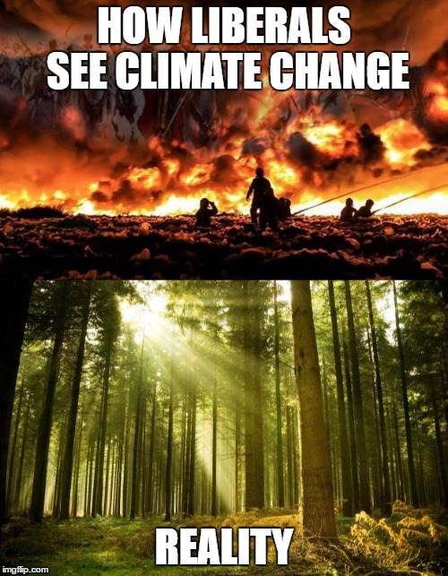 HOW LIBERALS SEE CLIMATE CHANGE REALITY | image tagged in climate change,liberal logic,snowflakes,end of the world | made w/ Imgflip meme maker