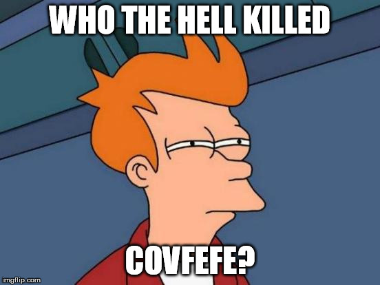 Futurama Fry Meme | WHO THE HELL KILLED COVFEFE? | image tagged in memes,futurama fry | made w/ Imgflip meme maker
