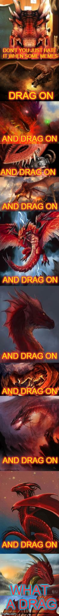 Dragons on parade | DON'T YOU JUST HATE IT WHEN SOME MEMES DRAG ON AND DRAG ON AND DRAG ON AND DRAG ON AND DRAG ON AND DRAG ON AND DRAG ON AND DRAG ON AND DRAG  | image tagged in red dragon,long memes,smile its funny | made w/ Imgflip meme maker