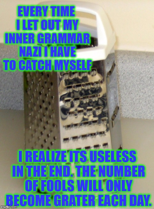 EVERY TIME I LET OUT MY INNER GRAMMAR NAZI I HAVE TO CATCH MYSELF I REALIZE ITS USELESS IN THE END. THE NUMBER OF FOOLS WILL ONLY BECOME GRA | image tagged in grater injustice | made w/ Imgflip meme maker