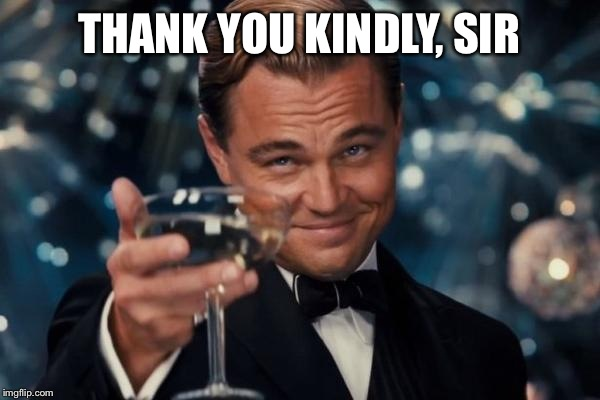 Leonardo Dicaprio Cheers Meme | THANK YOU KINDLY, SIR | image tagged in memes,leonardo dicaprio cheers | made w/ Imgflip meme maker