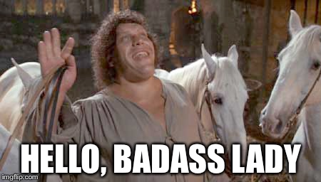 When Andre the Giant saw Wonder Woman | HELLO, BADASS LADY | image tagged in hello lady,andre the giant,wonder woman,princess bride | made w/ Imgflip meme maker