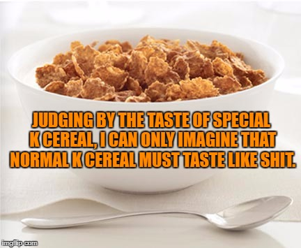 JUDGING BY THE TASTE OF SPECIAL K CEREAL, I CAN ONLY IMAGINE THAT NORMAL K CEREAL MUST TASTE LIKE SHIT. | image tagged in cereal,breakfast,special k,funny,funny memes,humor | made w/ Imgflip meme maker