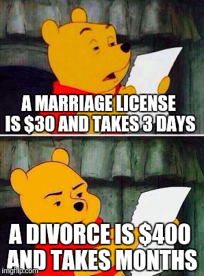 A MARRIAGE LICENSE IS $30 AND TAKES 3 DAYS A DIVORCE IS $400 AND TAKES MONTHS | made w/ Imgflip meme maker