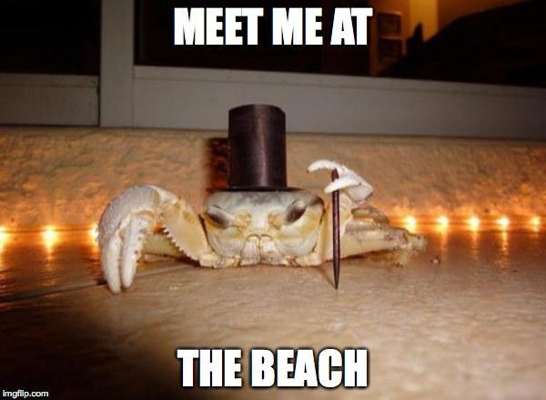 Crabs At The Beach |  MEET ME AT; THE BEACH | image tagged in crabs,beach,summertime | made w/ Imgflip meme maker