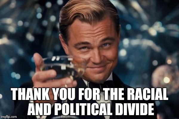 Leonardo Dicaprio Cheers Meme | THANK YOU FOR THE RACIAL AND POLITICAL DIVIDE | image tagged in memes,leonardo dicaprio cheers | made w/ Imgflip meme maker