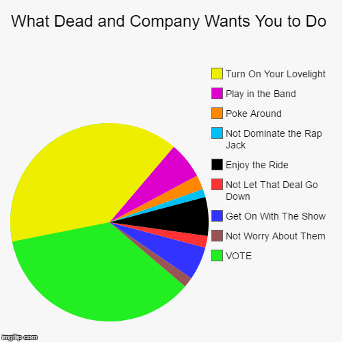 What Dead and Company Wants You to Do  | What Dead and Company Wants You to Do | VOTE, Not Worry About Them , Get On With The Show , Not Let That Deal Go Down , Enjoy the Ride , Not | image tagged in dead and company,grateful dead,bob weir,music,voting,grassroots | made w/ Imgflip pie chart maker