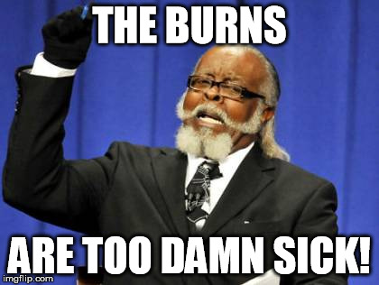 Too Damn High Meme | THE BURNS ARE TOO DAMN SICK! | image tagged in memes,too damn high | made w/ Imgflip meme maker