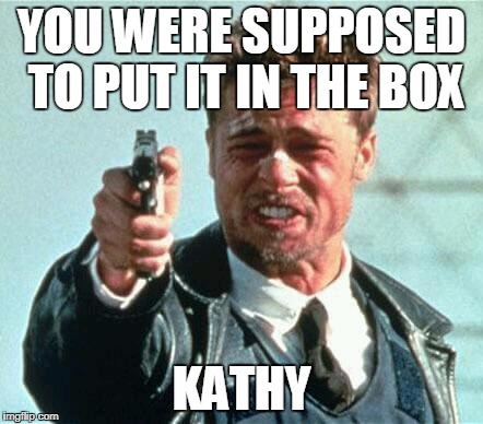 YOUR MISTAKE WAS YOU DIDN'T PUT IT IN THE BOX |  YOU WERE SUPPOSED TO PUT IT IN THE BOX; KATHY | image tagged in brad pitt whats in the box,kathy griffin,kathy griffin isis,seven deadly sins | made w/ Imgflip meme maker