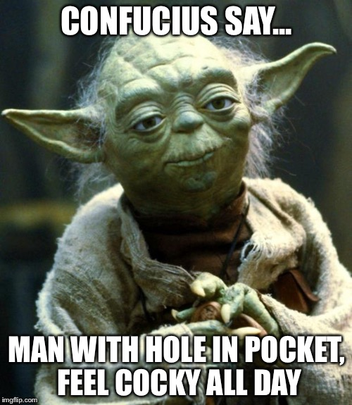 Star Wars Yoda Meme | CONFUCIUS SAY... MAN WITH HOLE IN POCKET, FEEL COCKY ALL DAY | image tagged in memes,star wars yoda | made w/ Imgflip meme maker