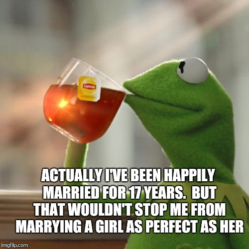 But Thats None Of My Business Meme | ACTUALLY I'VE BEEN HAPPILY MARRIED FOR 17 YEARS.  BUT THAT WOULDN'T STOP ME FROM MARRYING A GIRL AS PERFECT AS HER | image tagged in memes,but thats none of my business,kermit the frog | made w/ Imgflip meme maker