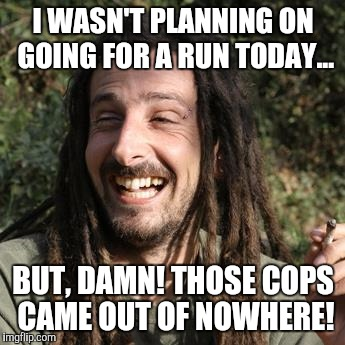 I WASN'T PLANNING ON GOING FOR A RUN TODAY... BUT, DAMN! THOSE COPS CAME OUT OF NOWHERE! | image tagged in stoner | made w/ Imgflip meme maker